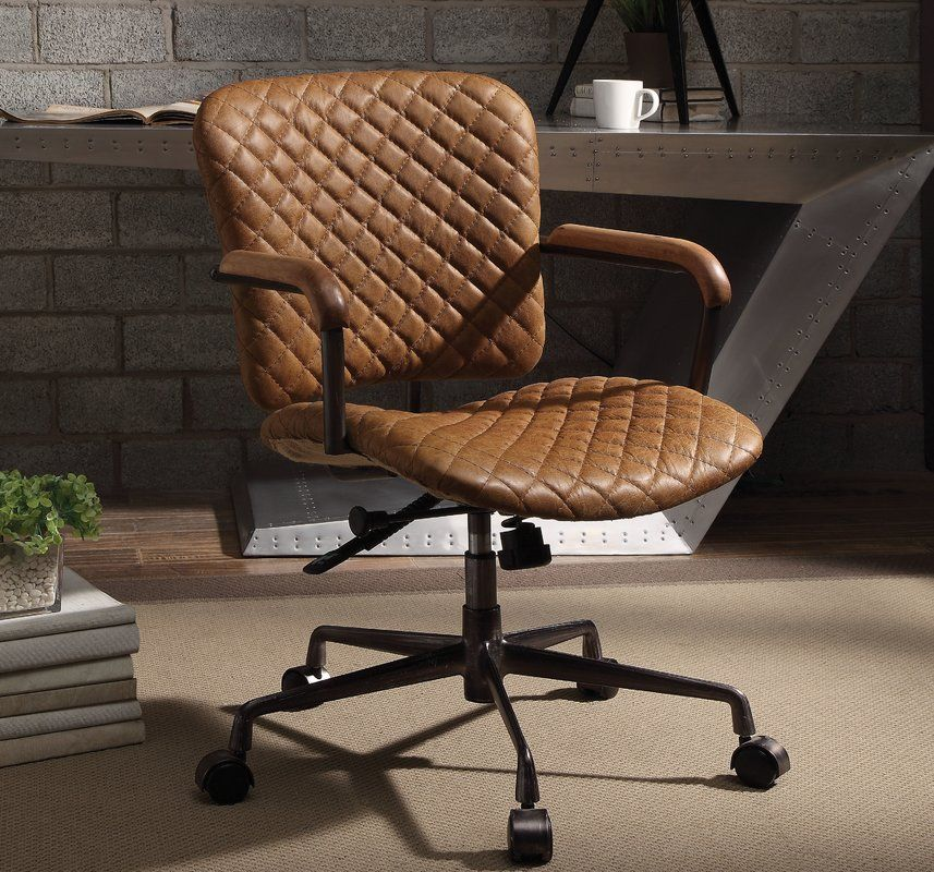 Leather Desk Chair Brown