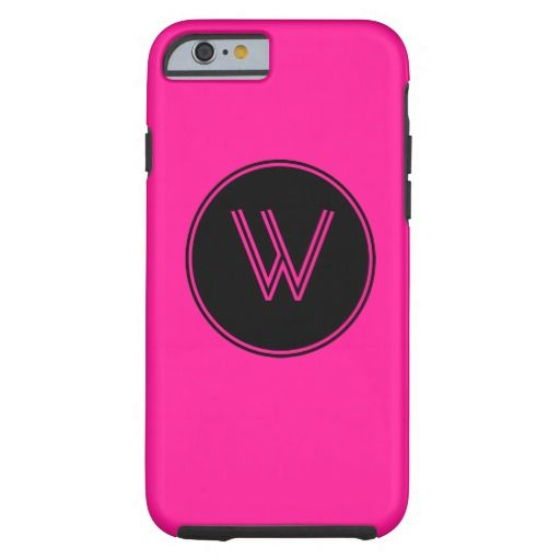 Deep Pink Monogrammed Black Circle iPhone 6 Case