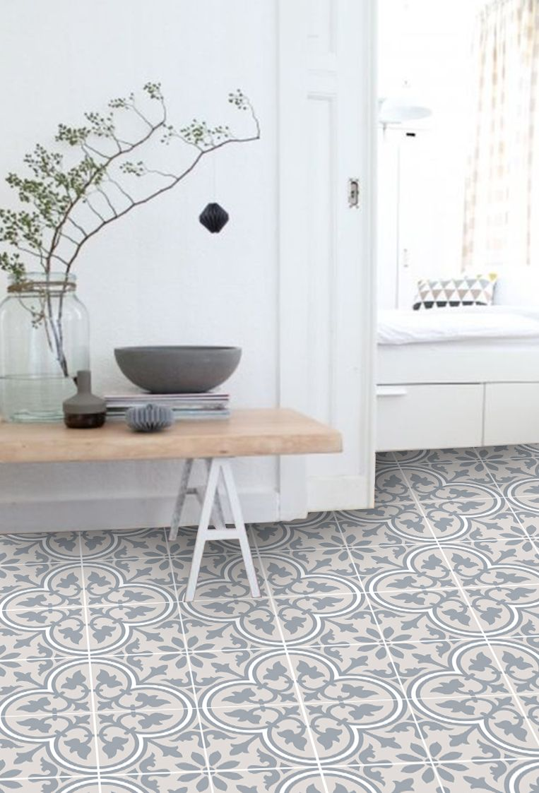 Vinyl Floor Tile Sticker - Trefle Sand | kitchen and bathroom floor ...