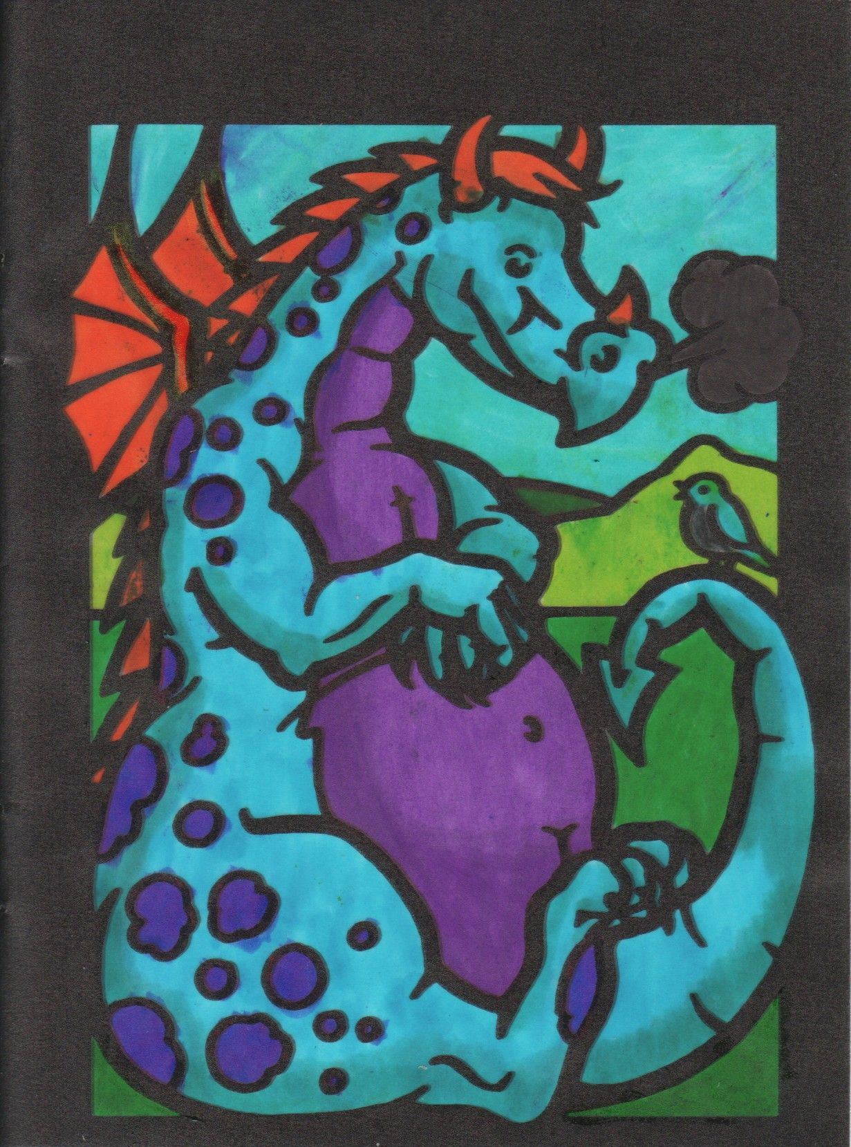 Maya M age 12 (12 - 18 division) from Dragons Stained Glass Coloring Book: http://store.doverpublications.com/0486291502.html