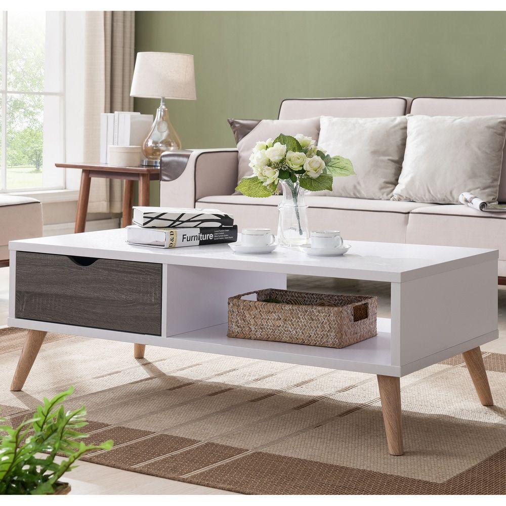Furniture Of America Bjua Modern Grey Drawer Coffee Table Distressed Grey White Gray In 2020 Furniture Coffee Table With Storage Table Furniture