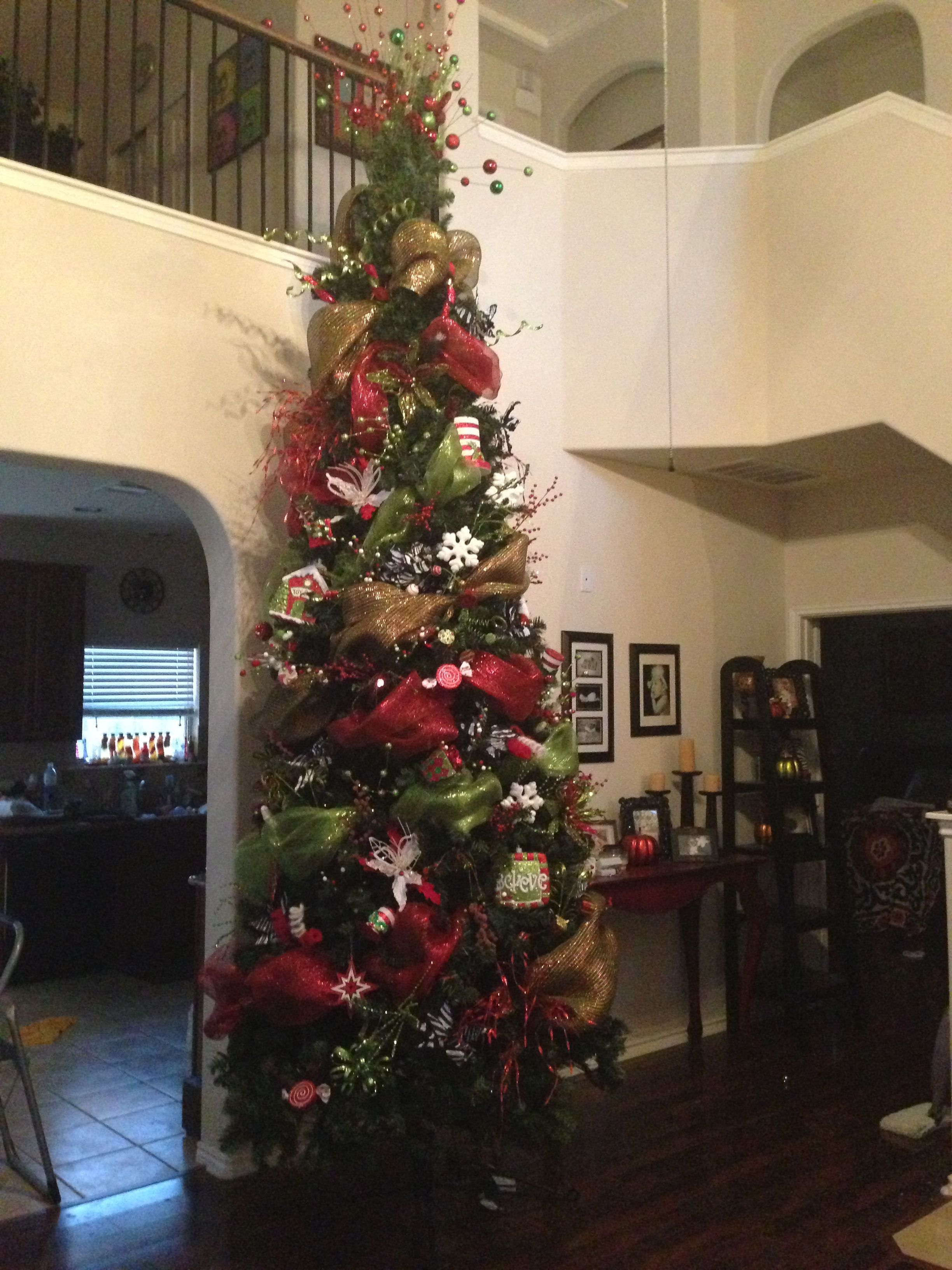 Deco Mesh 12 ft Christmas tree | 12 ft christmas tree ...