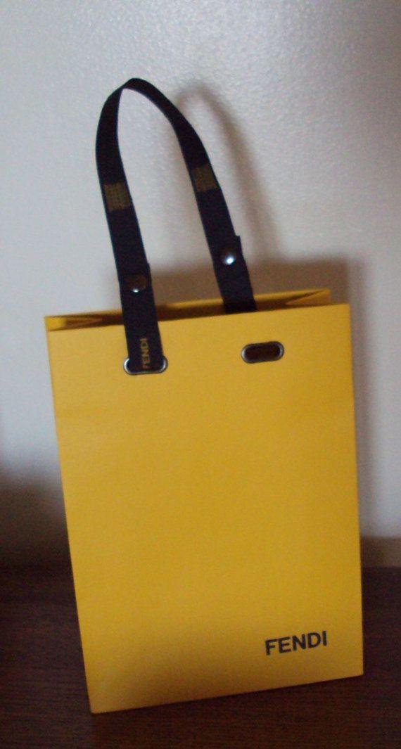 2cdde35416 Fendi Shopping Bag Ribbon Handle Gold w Logo Gift Vintage Centerpiece  Designer Italy yellow