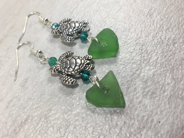 Floating Sea Turtles Green Sea Glass Earrings, Beautiful Green ...