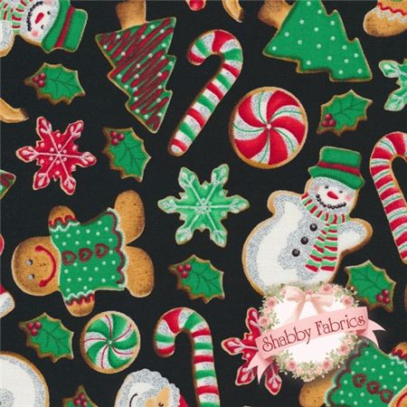 "Holiday Treats CM1285-Holiday By Timeless Treasures: Holiday Treats is a collection by Timeless Treasures.  100% cotton.  43/44"" wide.  This fabric features an assortment of Christmas themed cookies with silver glitter accents on a black background."