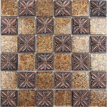 Resin mosaic tile, glass stone blend resin mosaic tiles bathroom RNMT010 modern-bathroom-tile