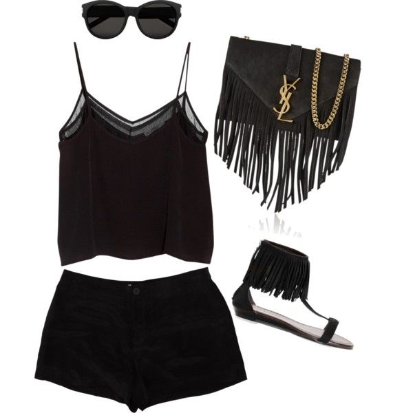 A black summer fashion. ☺️ by itisacs on Polyvore featuring polyvore, fashion, style, MANGO, T By Alexander Wang and Yves Saint Laurent