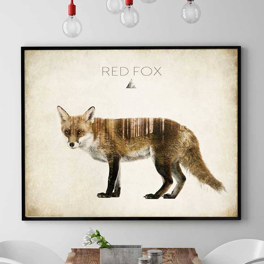 Red fox art print woodland animals print fox wall art fox poster