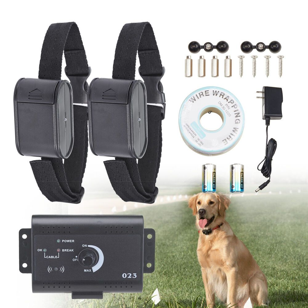 Electric Dog Fence System Waterproof 2 Shock Collars For 2 Dogs