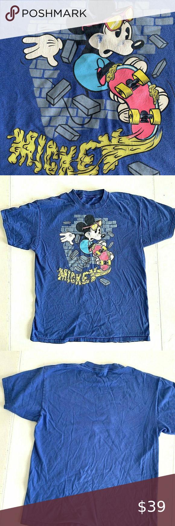 Vintage Disney Mickey Mouse Skateboarding T Shirt In 2020 Vintage Disney Disney Mickey Mouse Mickey Mouse