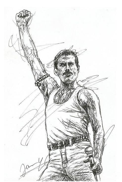 Freddie Mercury » Scribble Portrait von Jannys ART
