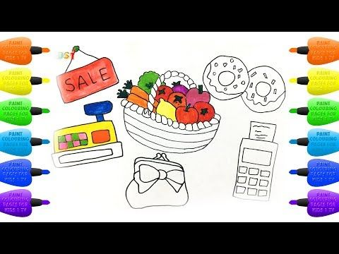 How to Draw Set for Shop : Cash Register, Basket, Fruit, Donuts and Wallet - Vidinterest