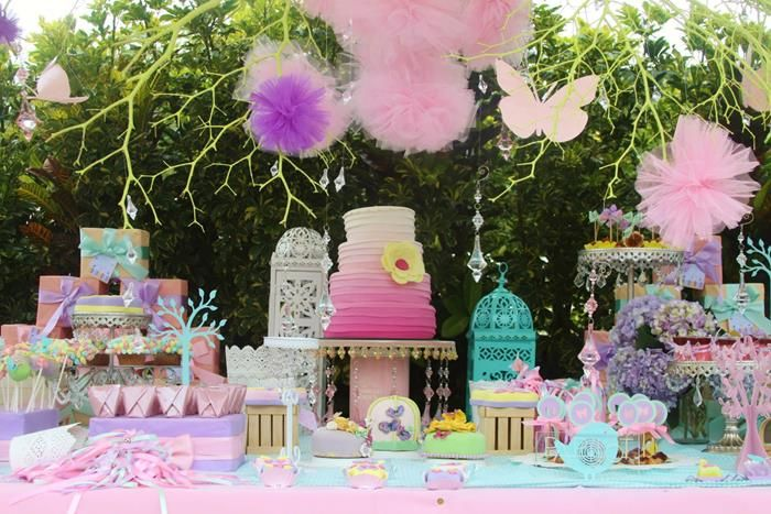 Awesome Pics Photos   Pastel Butterfly Garden Theme Baby Shower With Rosette Flowers