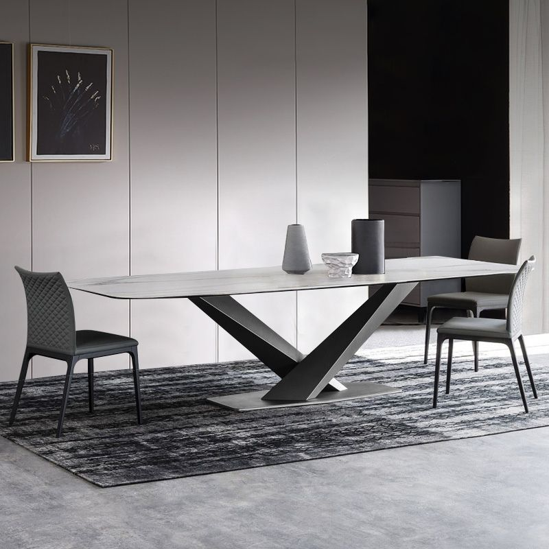 Modern Rectangular 63 Dining Table Marble Faux Marble Dining Table Marble Dining