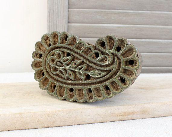 Vintage Wood Textile Printing Block Carved by BailiwickVintage