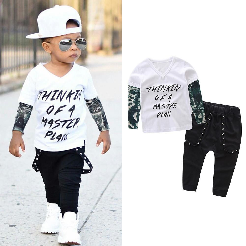 Boys long sleeve letter tshirt and pants outfit at bandaidclothing