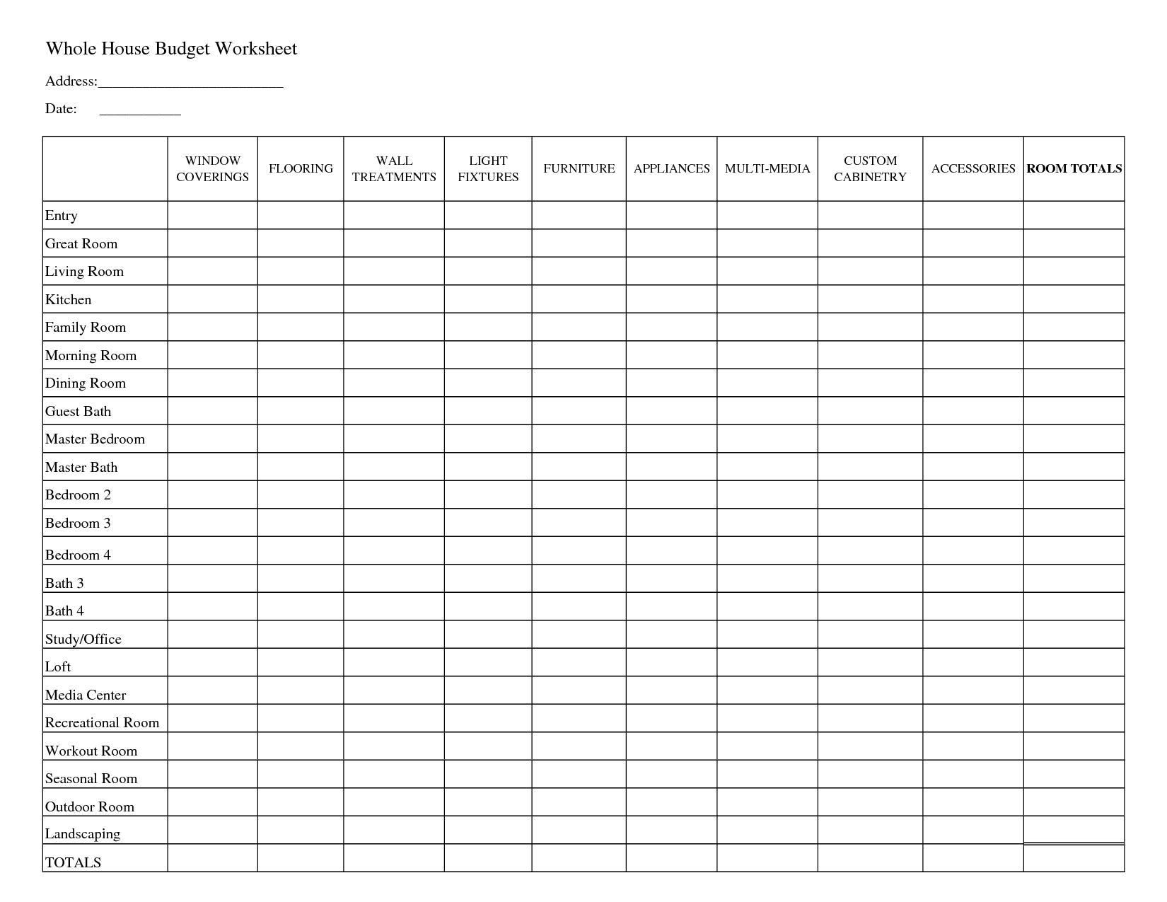 Printable Household Budget Worksheets | Whole House Budget ...