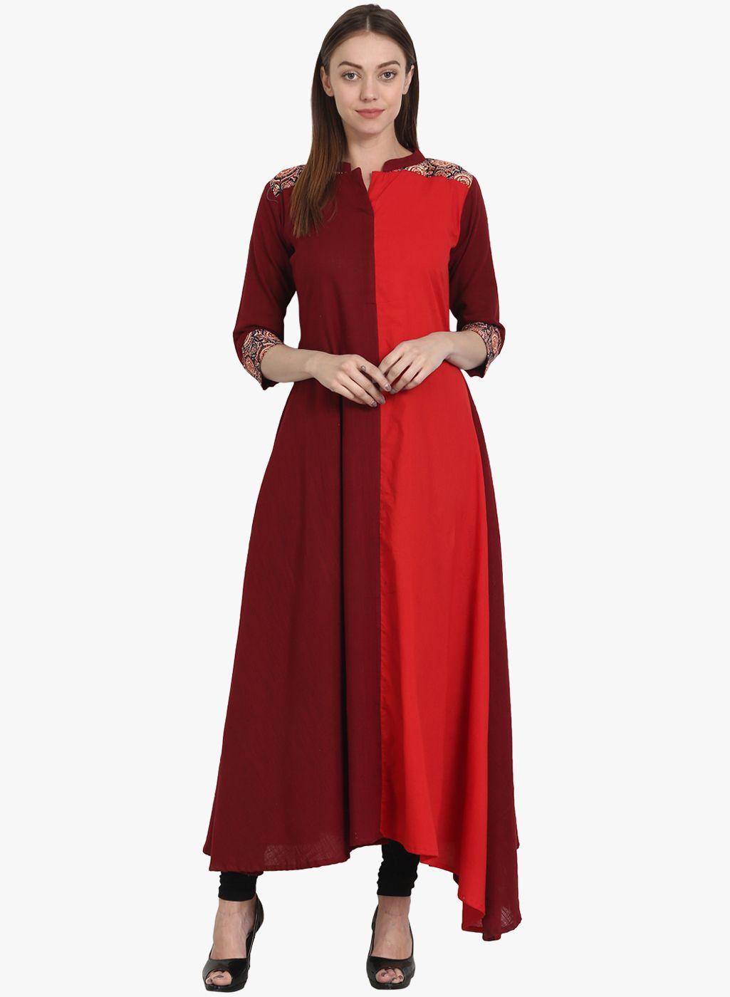 a504ceba2 Nayo Red Color Block Kurti  Cotton  Red  Kurta  Kurtis  Casual  Solid   ColourBlock  Dailywear  Mandarin