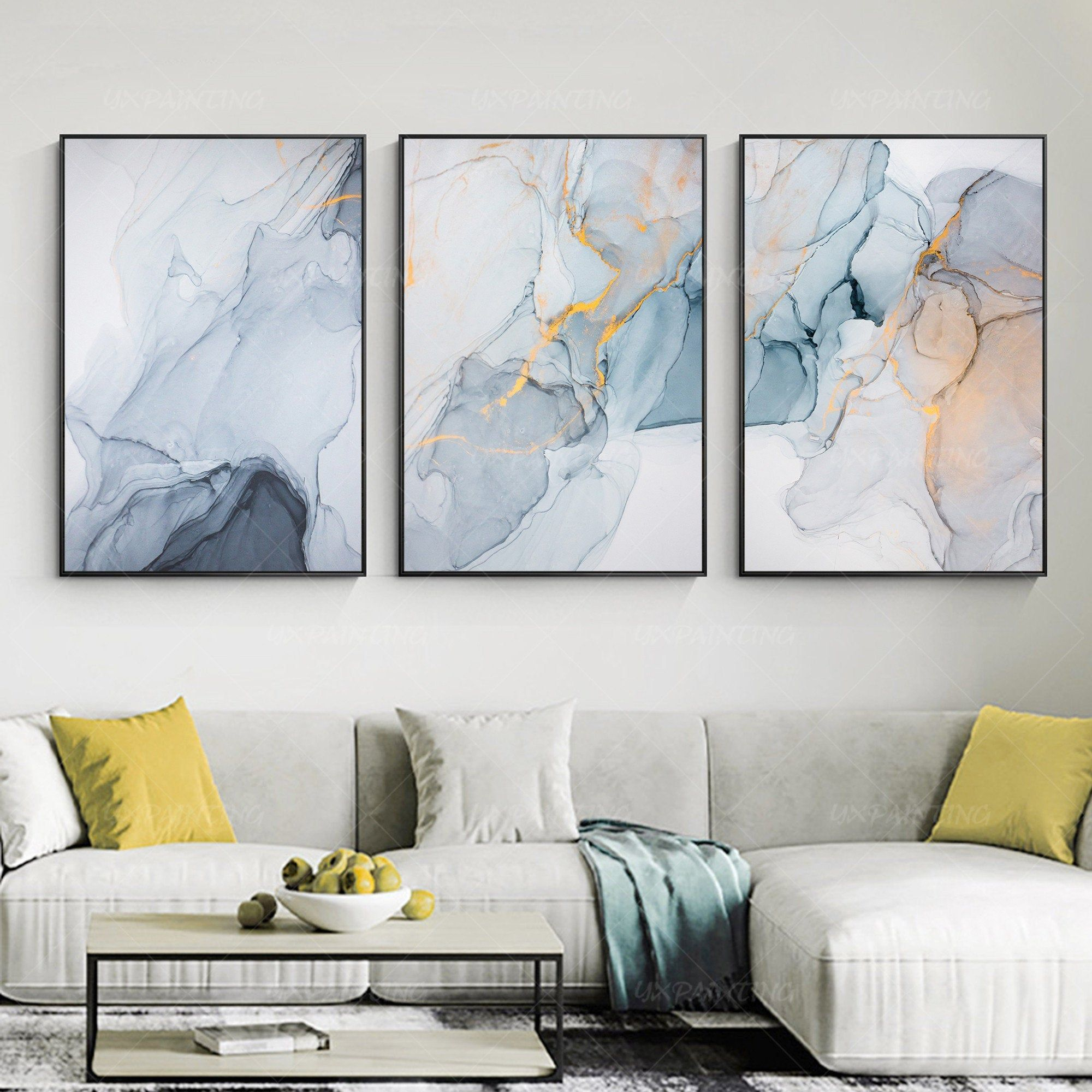 3 Pieces Wall Art Gold Art Abstract Print On Canvas Ready To Etsy In 2020 3 Piece Wall Art Abstract Print Statement Art Living Room
