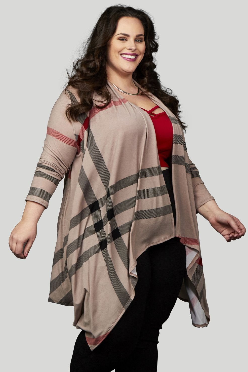 Pippa Plaid Waterfall Cardigan - Taupe/Black | Products, Taupe and ...