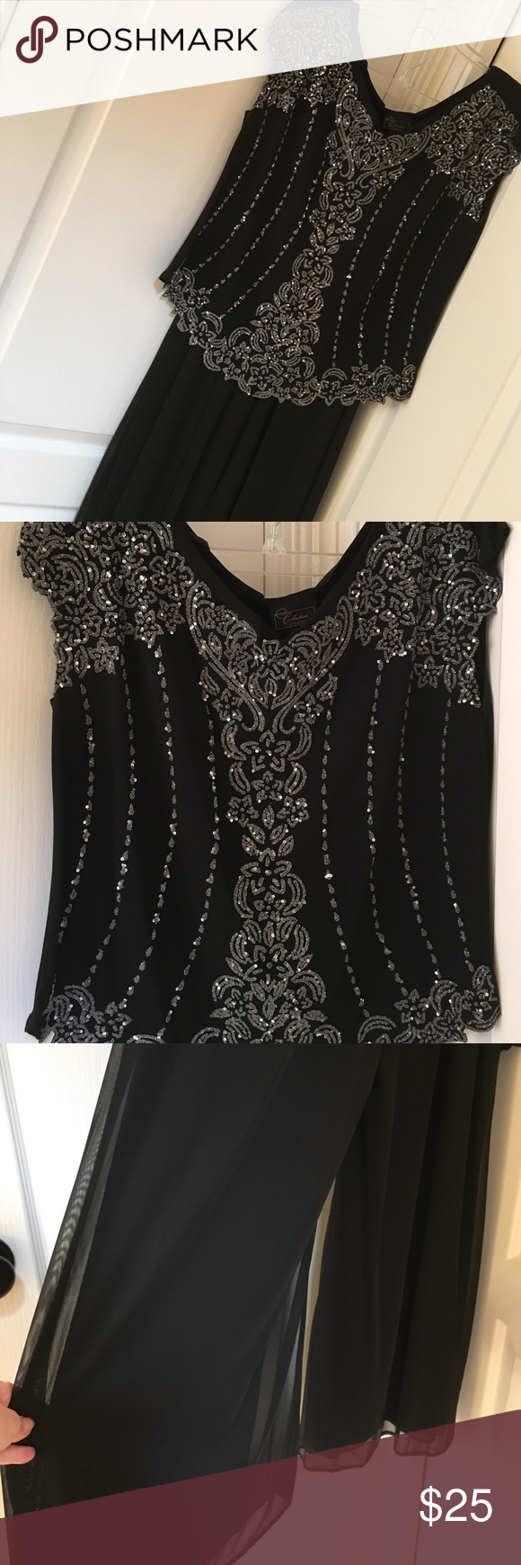Size 16 beaded 2 piece evening wear Black with silver beading!  2 piece...top is polyester and spandex and bottom is a fully lined palazzo pants...full length to look like a maxi skirt!  Excellent condition!  Worn twice.  Smoke free home! Dress Barn Other