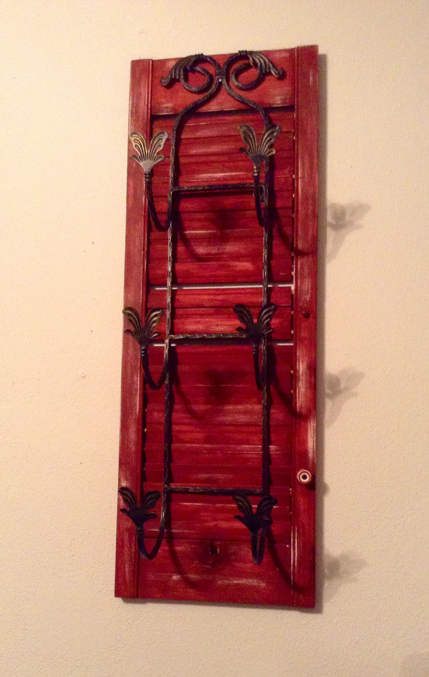 Repurposed shutter to plate rack towel holder. & Repurposed shutter to plate rack towel holder.... | Made With TLC ...