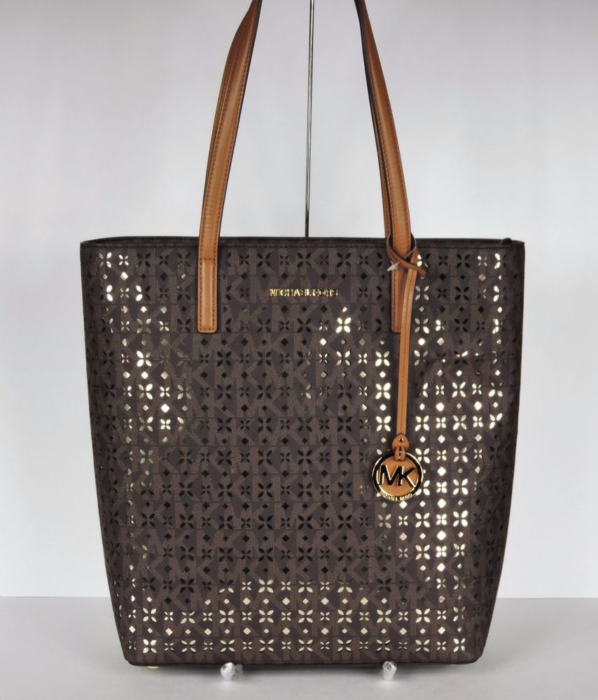 39f6e67c6745 New Michael Kors Hayley Large N S Top Zip Tote brown Gold perforated floral  bag | eBay