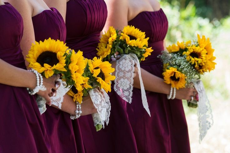 Burgundy and sunflower wedding google search our for Sunflower dresses for wedding