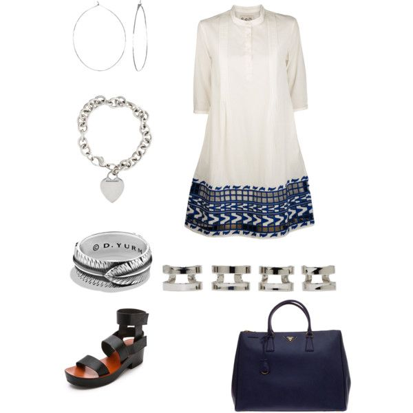 A fashion look from February 2015 featuring Sea, New York dresses, Chie Mihara sandals and Prada tote bags. Browse and shop related looks.