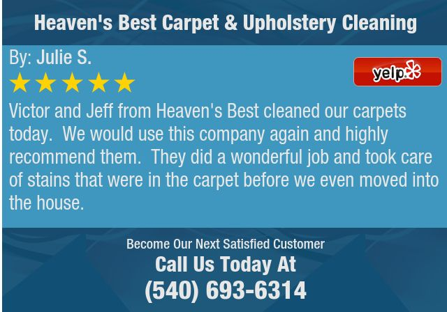 Victor and Jeff from Heaven's Best cleaned our carpets today. We would use this company...