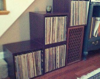 Vinyl Record Storage Cube   Stackable LP Record Album Storage Shelf  Espresso   Fits 70 Records