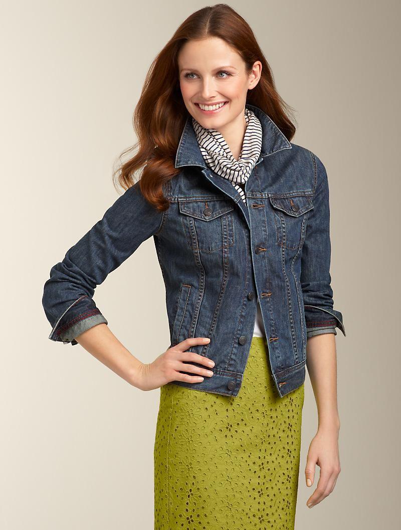 Green dress denim jacket  Denim jacket LIme Green skirt Black u white stripe scarf