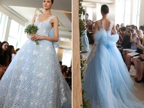 Jaw Dropping Details In This Oscar De La A Blue Wedding Dress