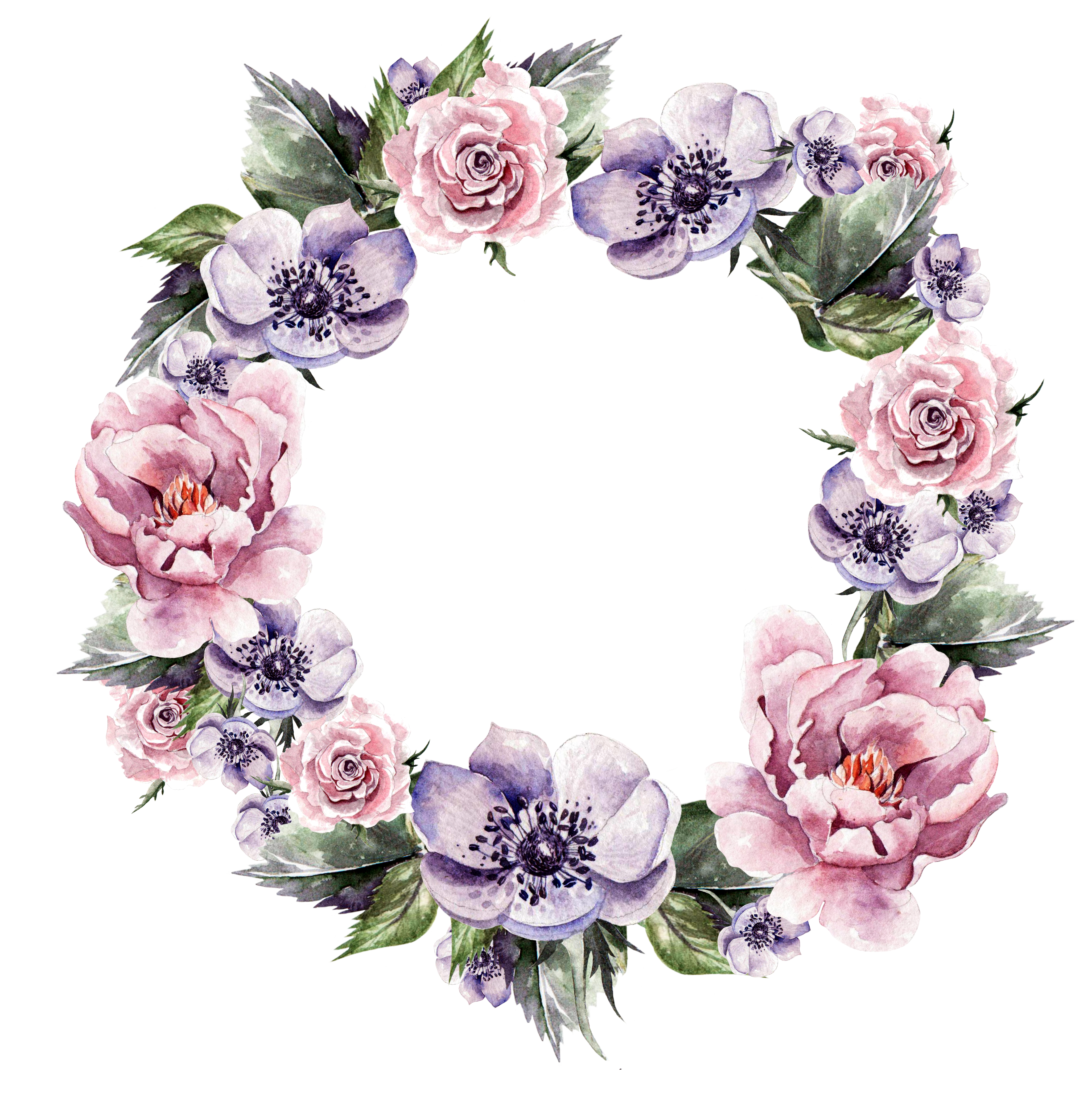 Flower Wreath Wedding invitation Garland Watercolor