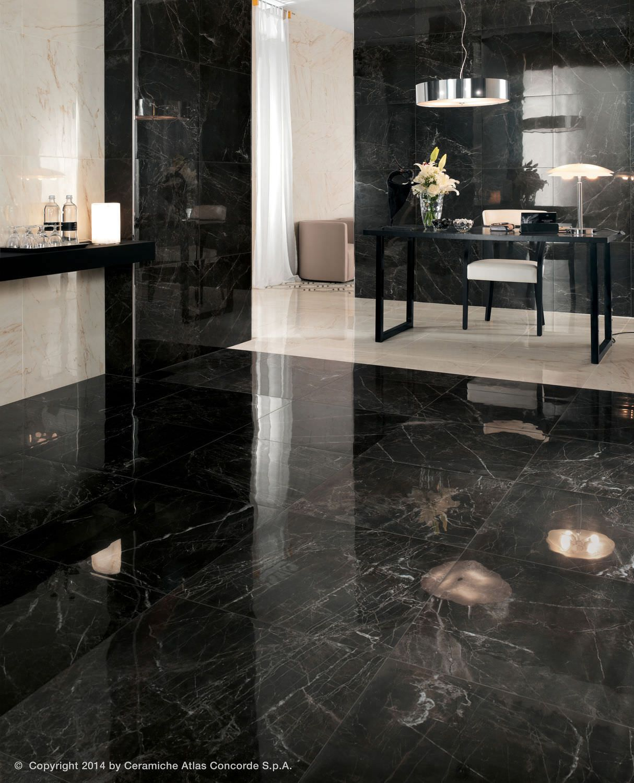 Carrelage de sol en gr s c rame poli aspect marbre marvel pro atlas concorde vid os - Carrelage salle de bain noir ...