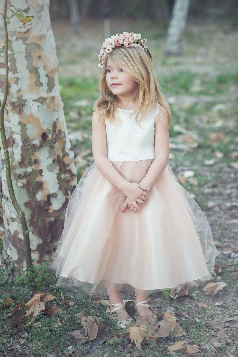 Satin und Tüll Blumenmädchen Kleid von KidsDreamDresses auf Etsy ...
