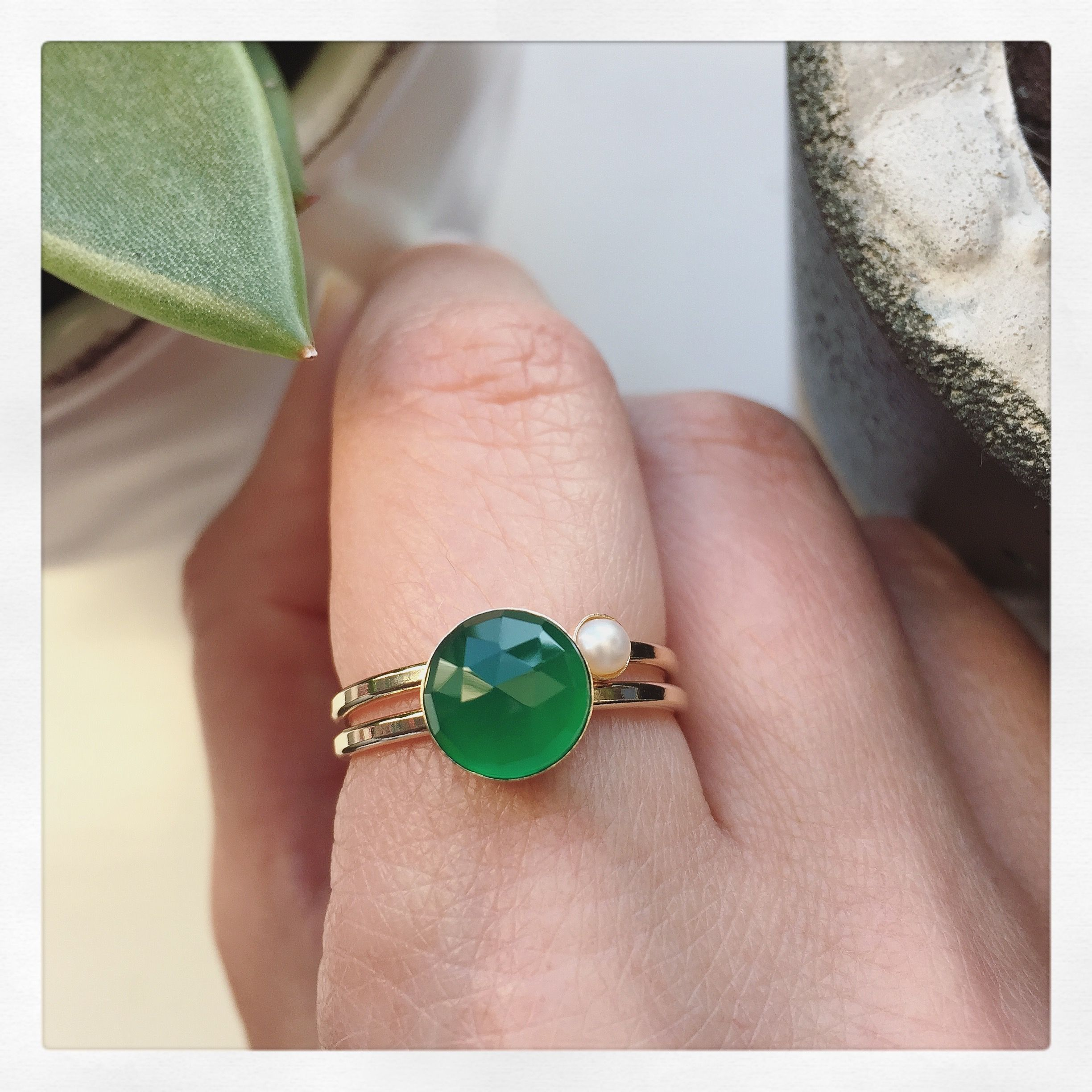 We love skinny gold rings with all sorts of gemstones like these ...