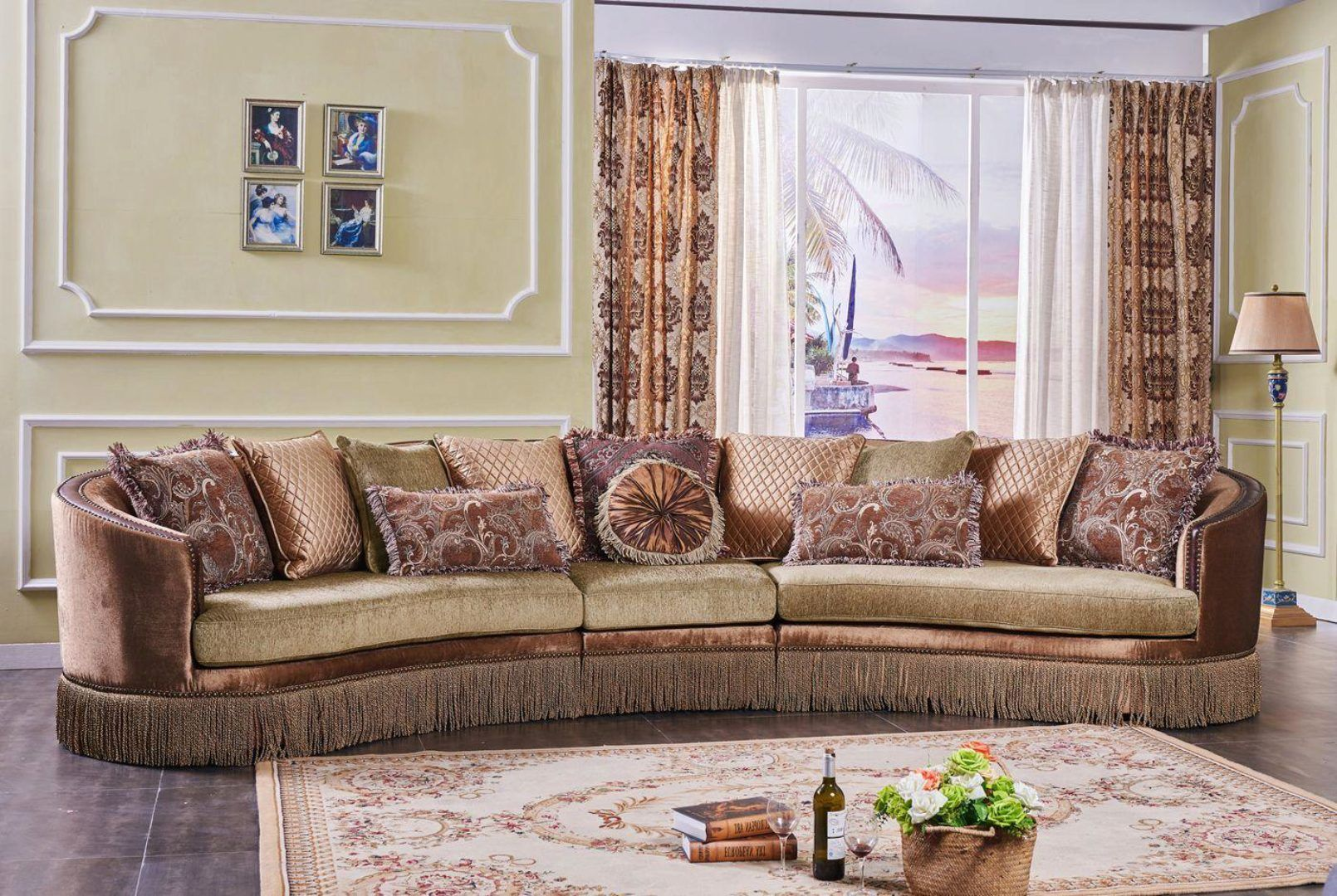 Traditional Curved Sectional Sofa W Accent Pillows 3pcs Mcferran Sf4160 Sf4160 Sectional Sofas Living Room Curved Sectional Sofa Sectional Sofa