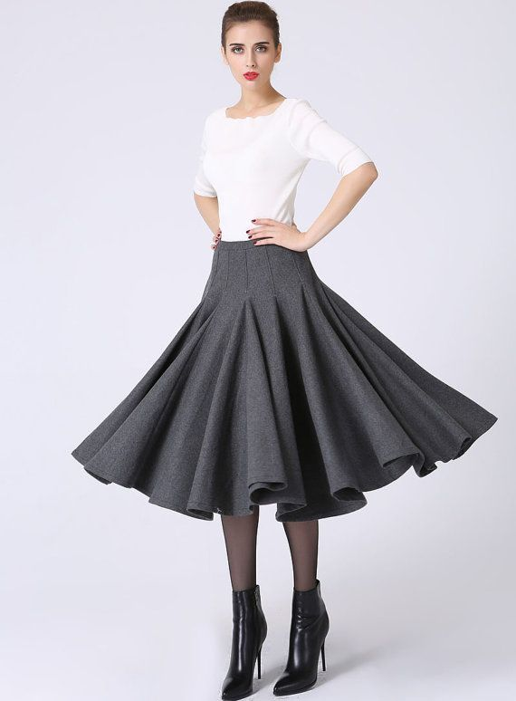 Dark grey skirt, pleated skirt, wool skirt, tea length skirt ...