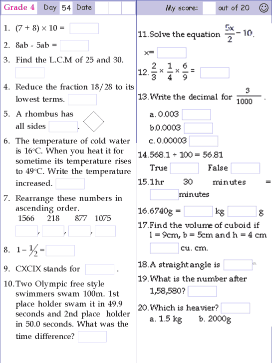 Mental Math Grade 4 Day 54 Mental Maths Worksheets Mental Math Math Methods