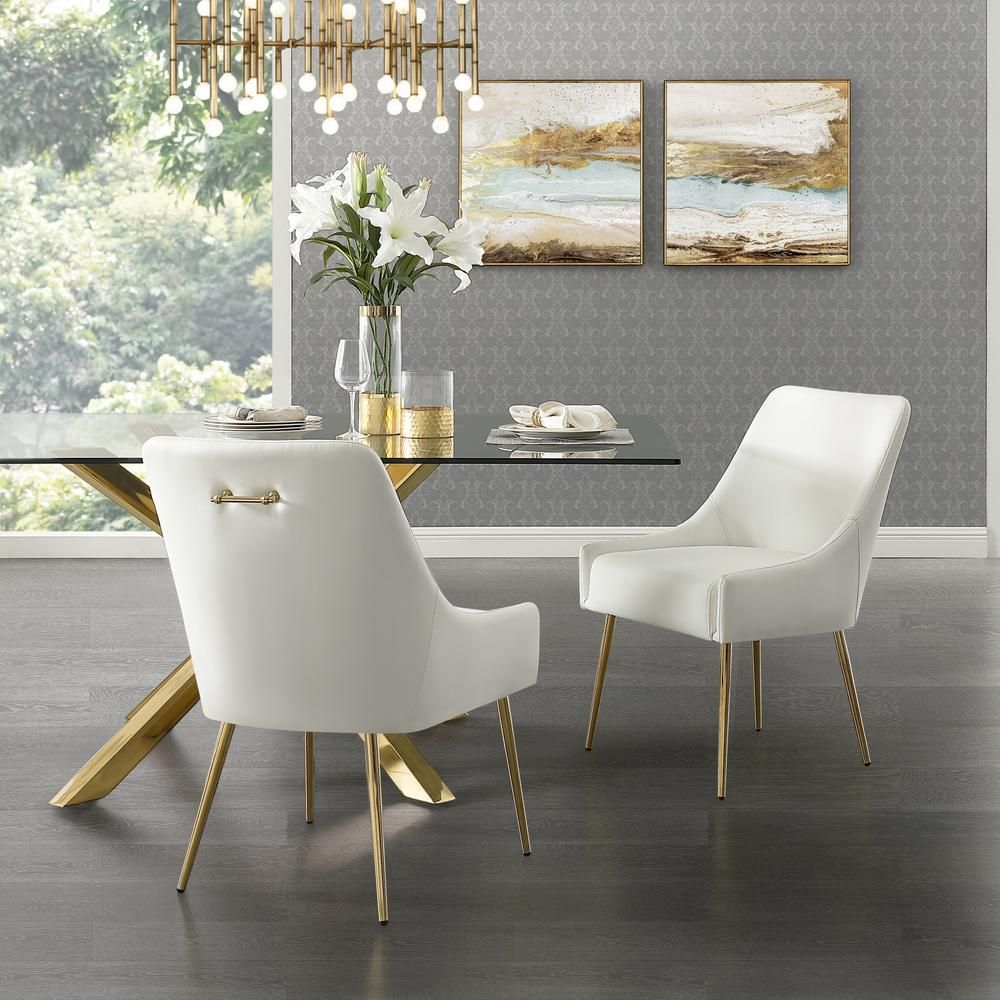 Inspired Home Capelli White Gold Pu Leather Metal Leg Armless Dining Chair Set Of 2 Ad91 01we2 Hd The Home Depot In 2020 Gold Dining Room Leather Dining Room Chairs White Leather Dining Chairs