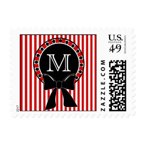 Candy Stripes Wreath Monogram Christmas Postage