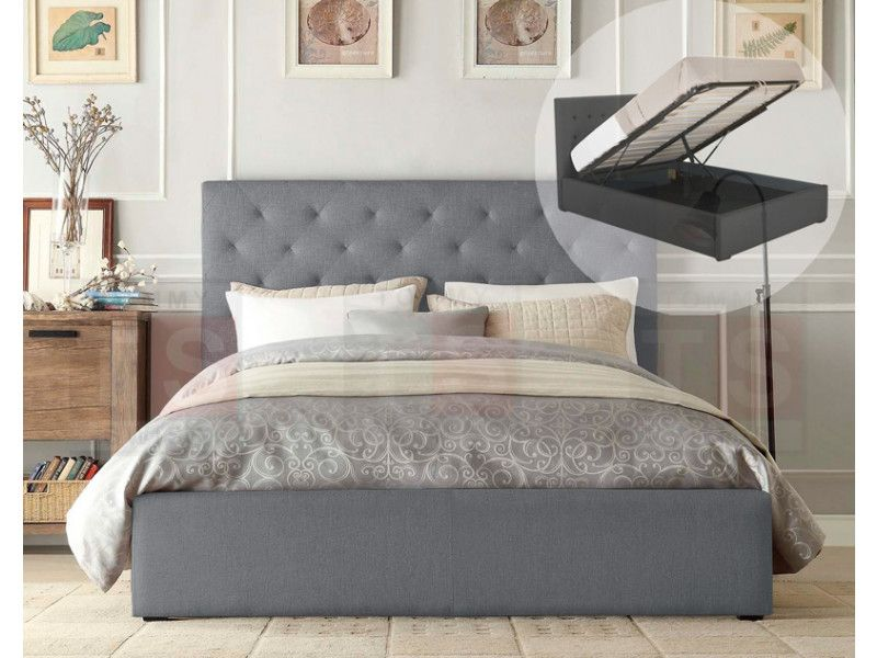 Queen Size Gas Lift Fabric Bed Frame Marco Collection Grey