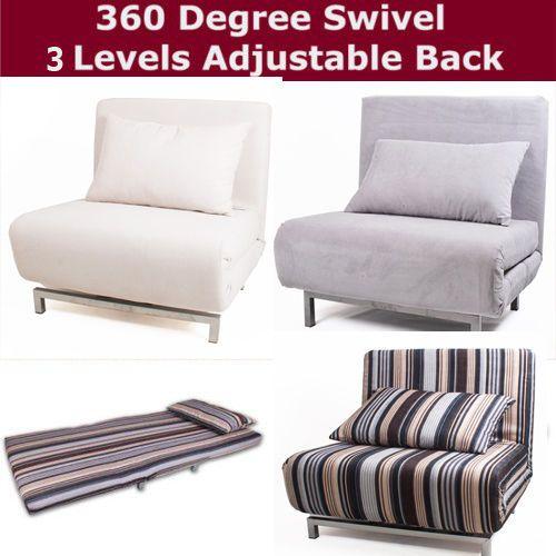 Modern Futon Single Sofa Chair Bed Metal Frame 360 Swivel