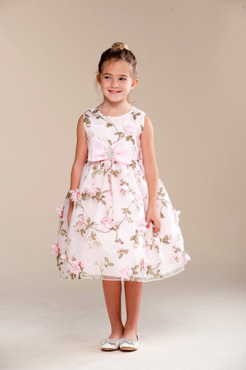 Posh Sweet Pink Floral Embroidered Flower Girl Party Dress Crayon Kids Usa 4t Girls Party Dress Dresses Flower Girl [ 1200 x 798 Pixel ]
