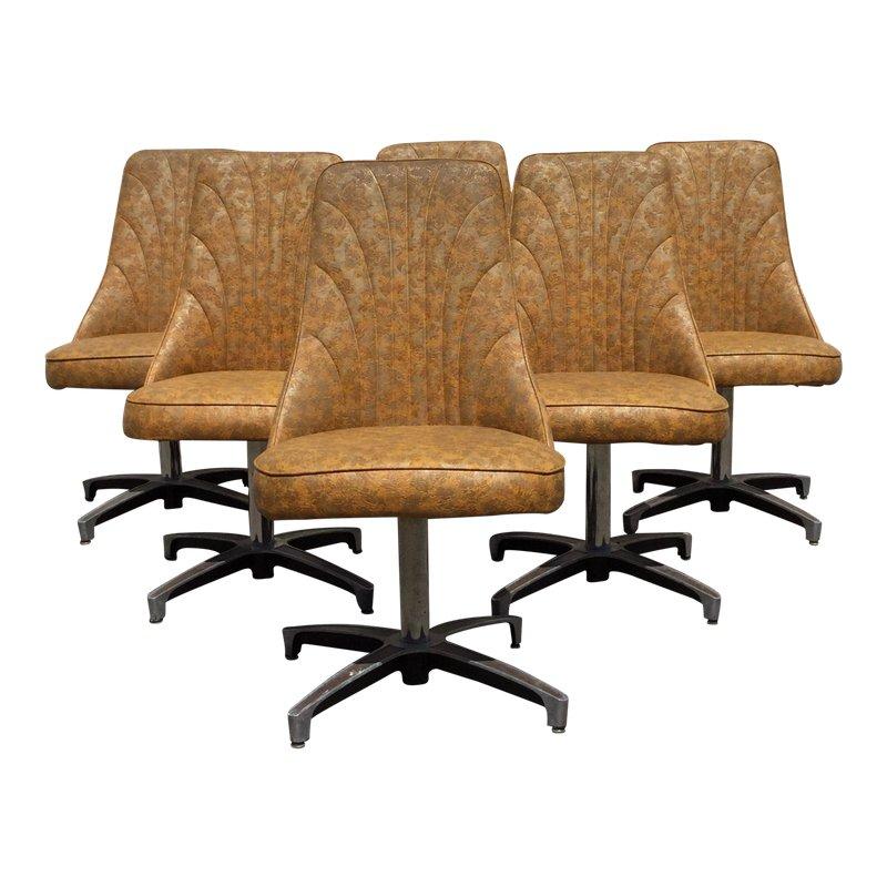 Strange 1960S Vintage Chromcraft Swivel Dining Chair Set 6 Pieces Machost Co Dining Chair Design Ideas Machostcouk