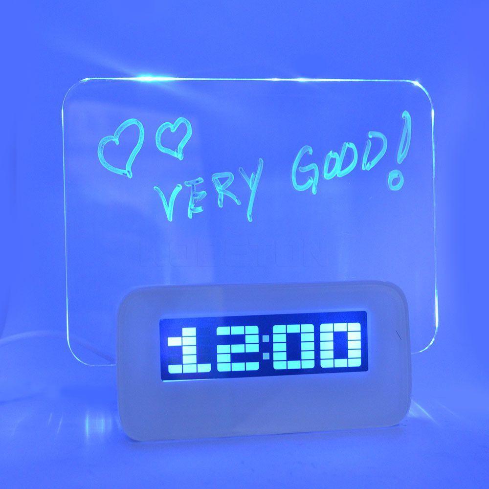 Image result for Blue LED Fluorescent Digital Alarm Clock with Message Board USB 4 Port Hub