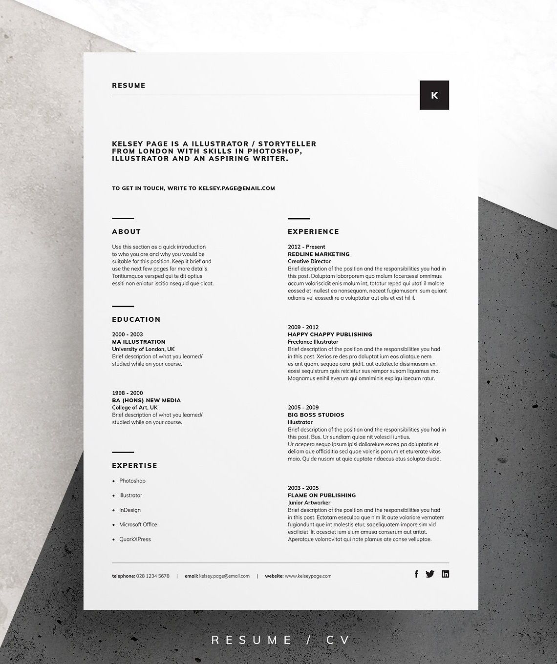 ResumeCv  Kelsey  Resume Cv And Cover Letter Template