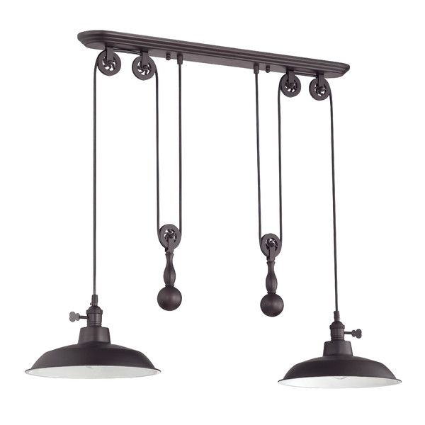 jeremiah lighting 2 light pully pendant in aged bronze u0026 aged bronze metal shade 2 light pully pendant in aged bronze with aged bronze shade