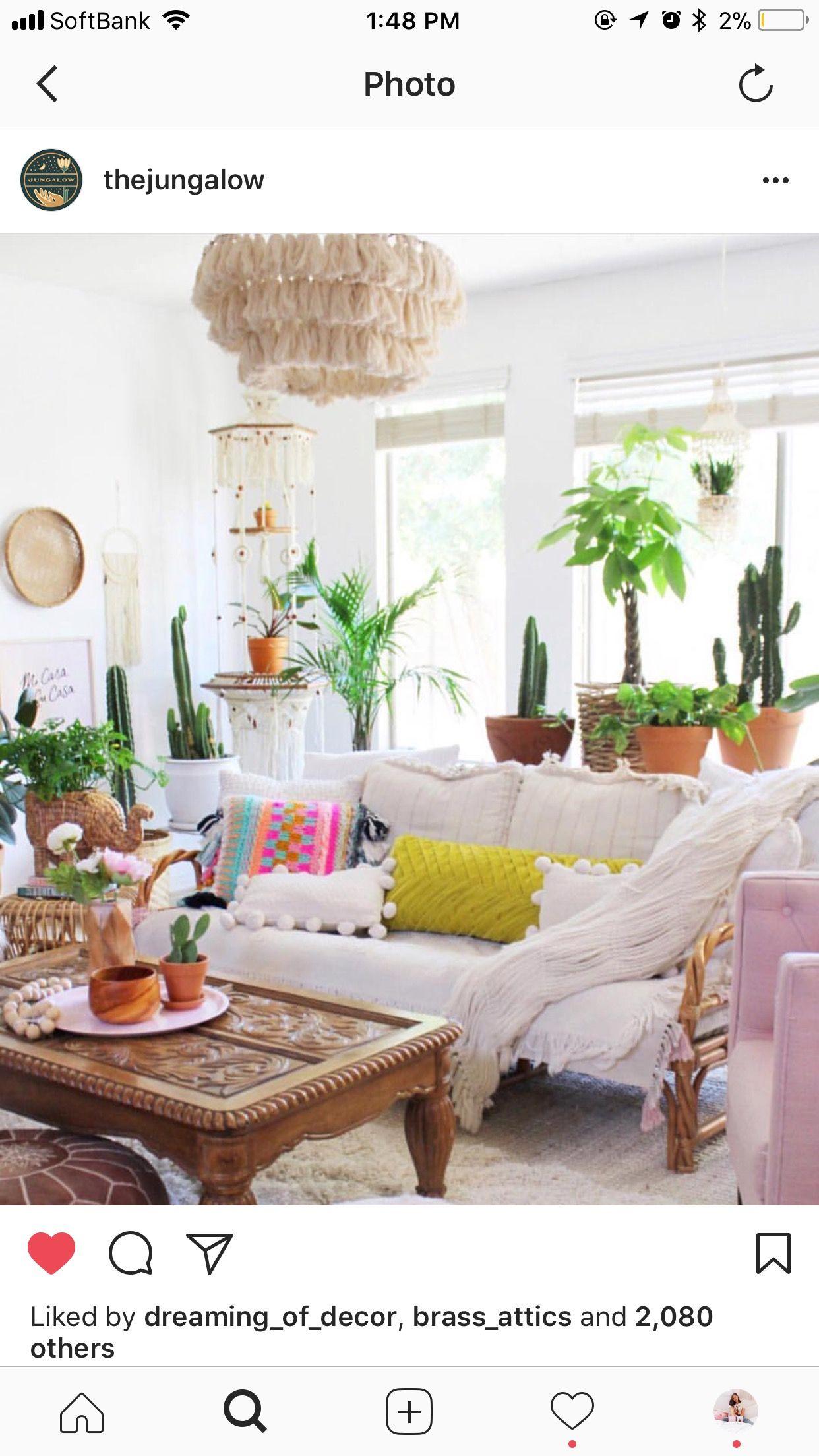 Jungalow Boho Style Living Room Palm